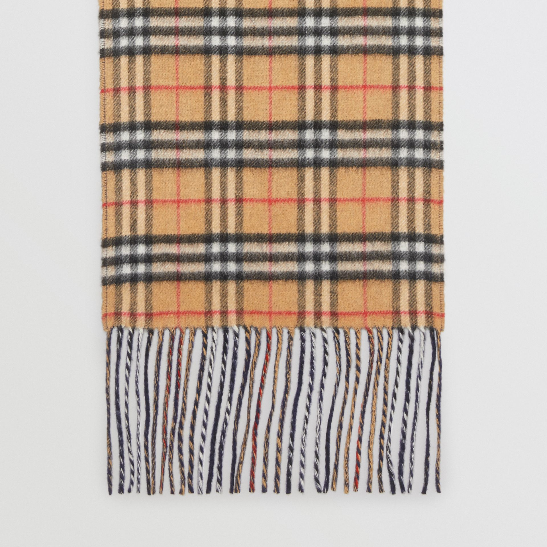 Long Reversible Vintage Check Double-faced Cashmere Scarf in Slate Blue | Burberry United States - gallery image 4