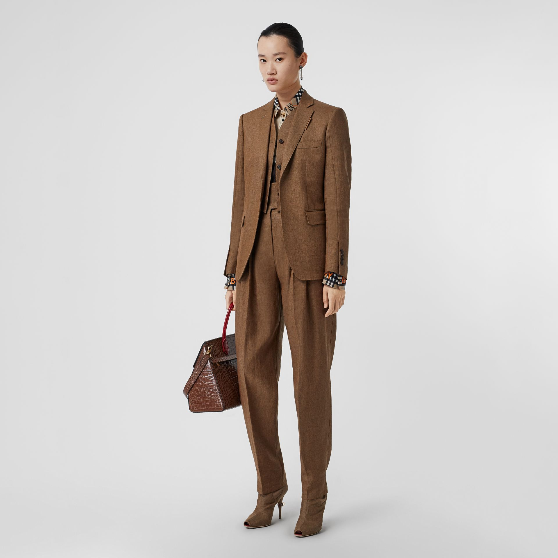 Pleat Detail Technical Linen Tailored Trousers in Flaxseed - Women | Burberry Canada - gallery image 0