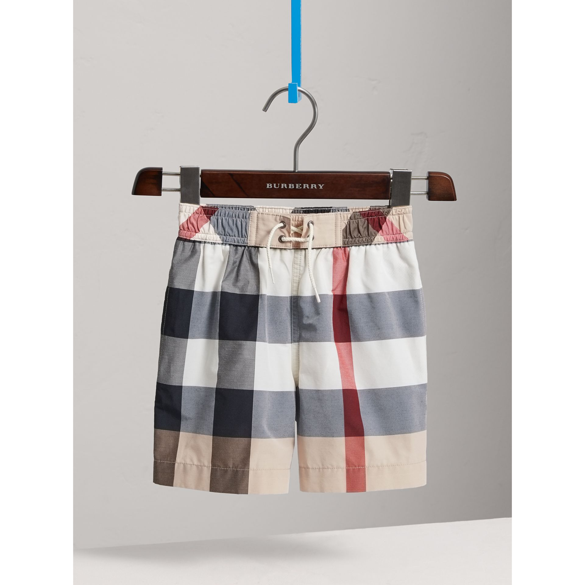Check Technical Cotton Swim Shorts in New Classic - Boy | Burberry Singapore - gallery image 2