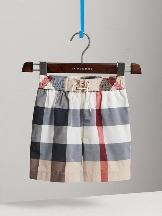 Check Technical Cotton Swim Shorts in New Classic - Boy | Burberry - cell image 2