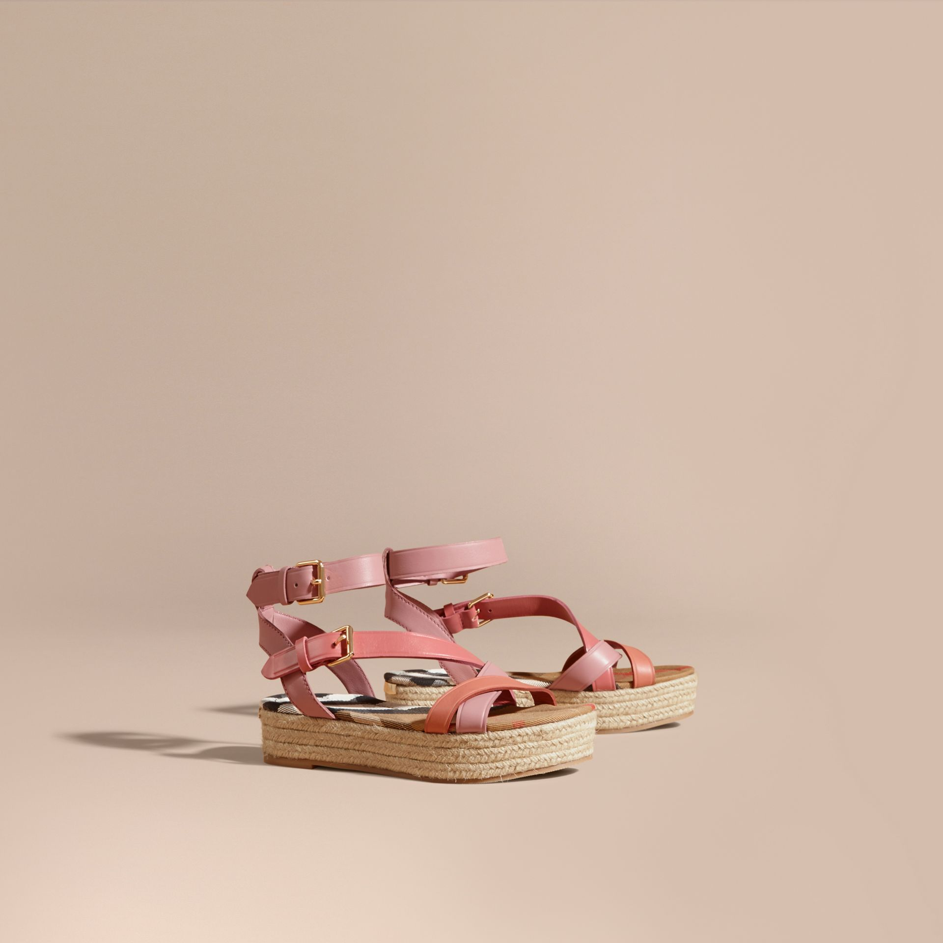 Two-tone Leather Espadrille Sandals in Dusty Pink - Women | Burberry Australia - gallery image 1