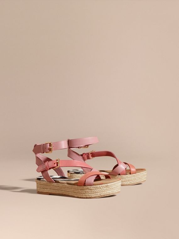 Two-tone Leather Espadrille Sandals
