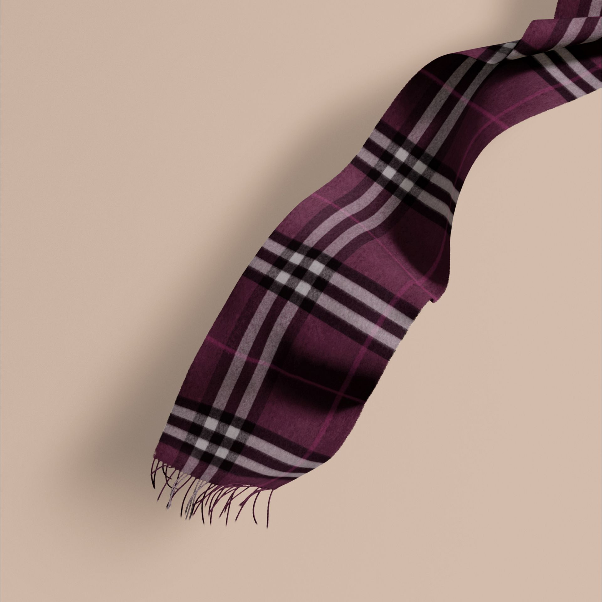 The Classic Cashmere Scarf in Check Aubergine - gallery image 1