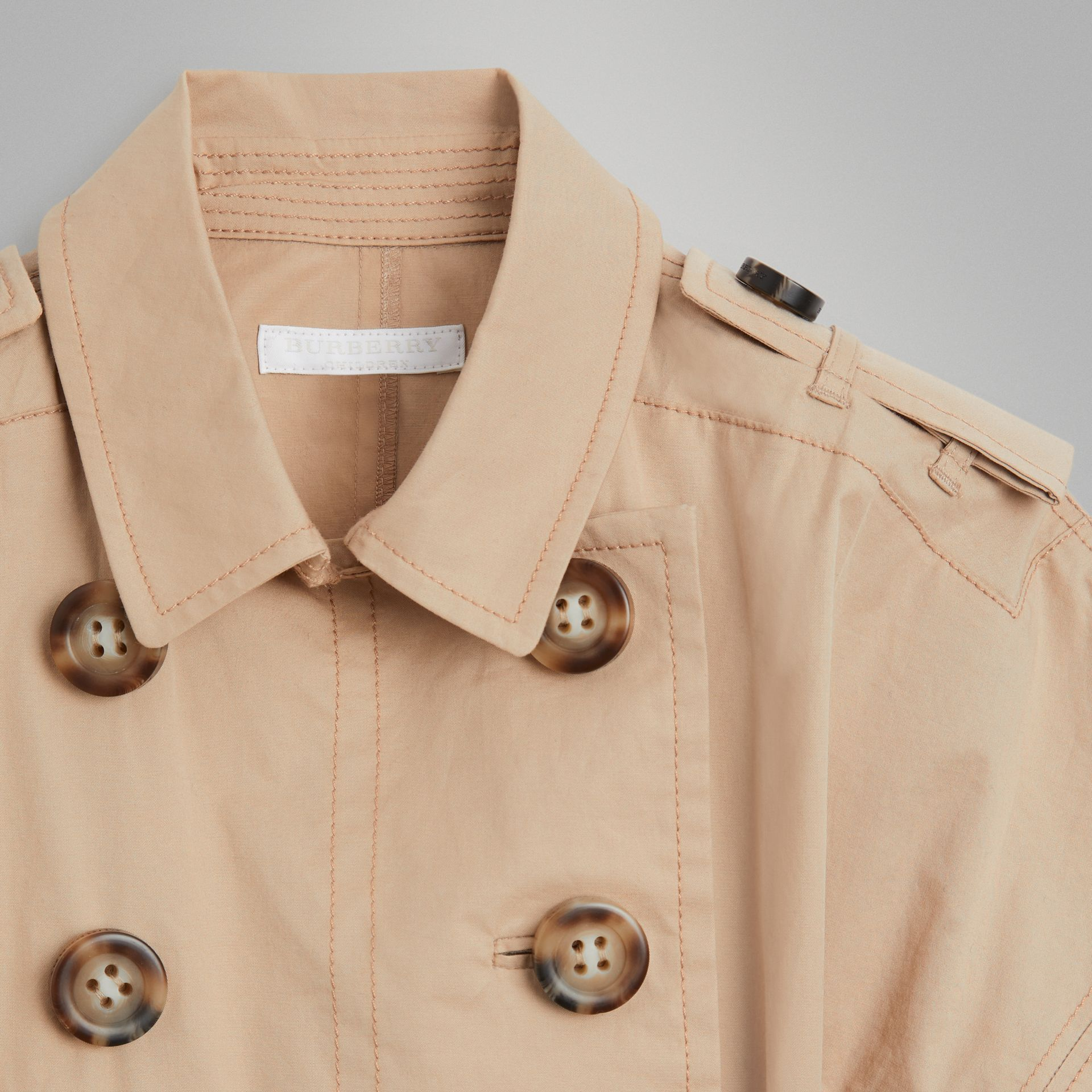 Stretch Cotton Trench Dress in Honey | Burberry United States - gallery image 4