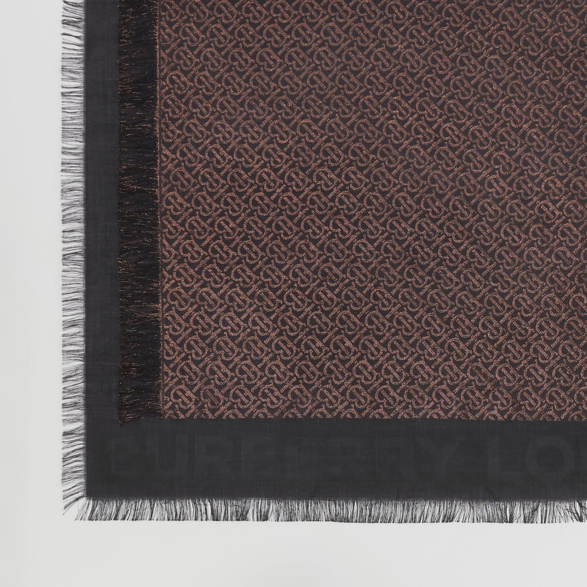 Metallic Monogram Silk Blend Large Square Scarf in Black | Burberry Hong Kong S.A.R - gallery image 1
