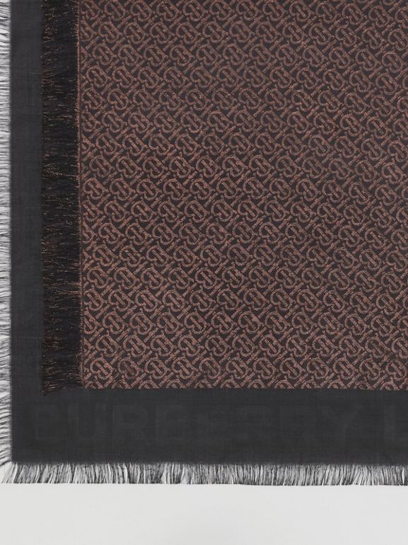 Metallic Monogram Silk Blend Large Square Scarf in Black | Burberry - cell image 1