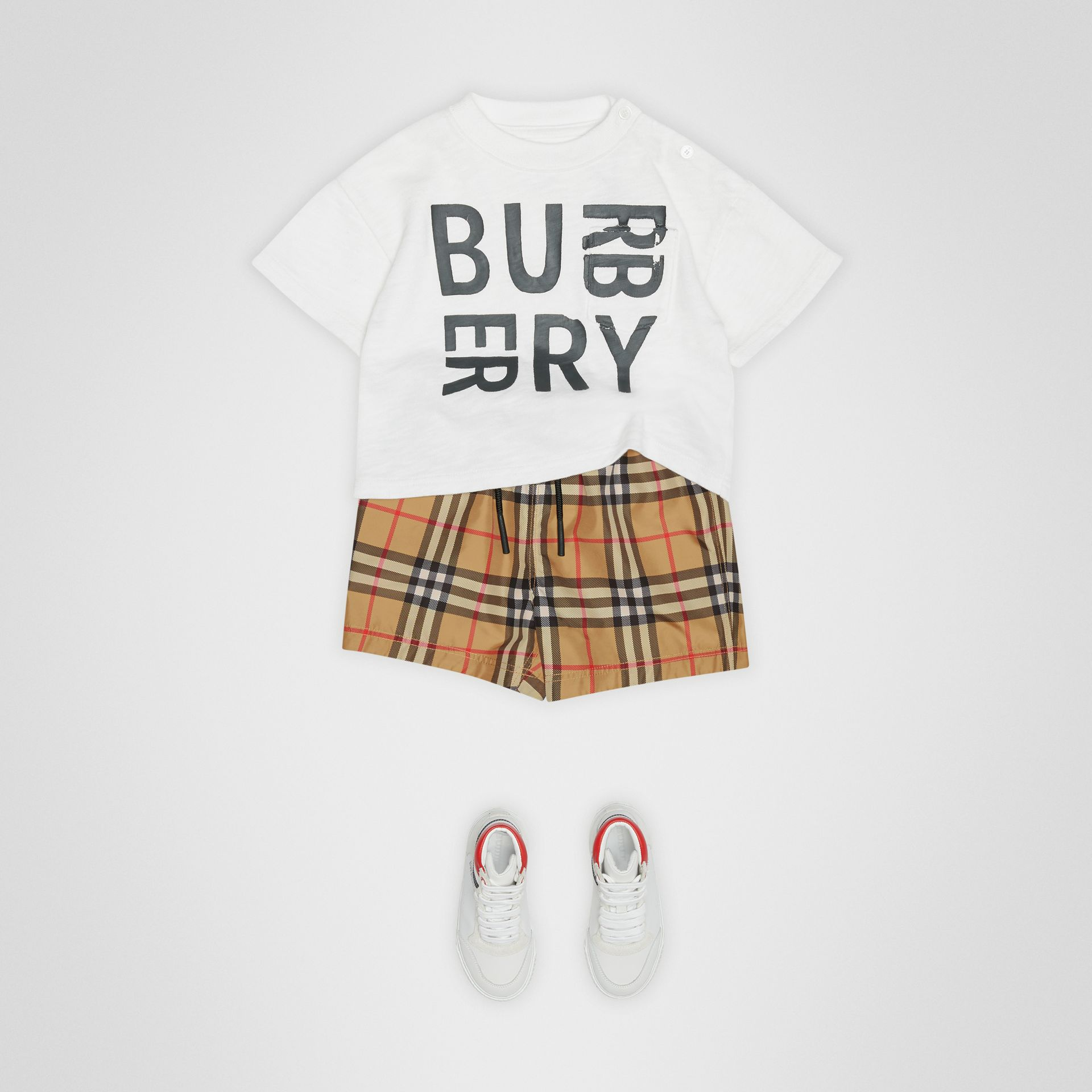 Check Swim Shorts in Antique Yellow - Children | Burberry Canada - gallery image 2