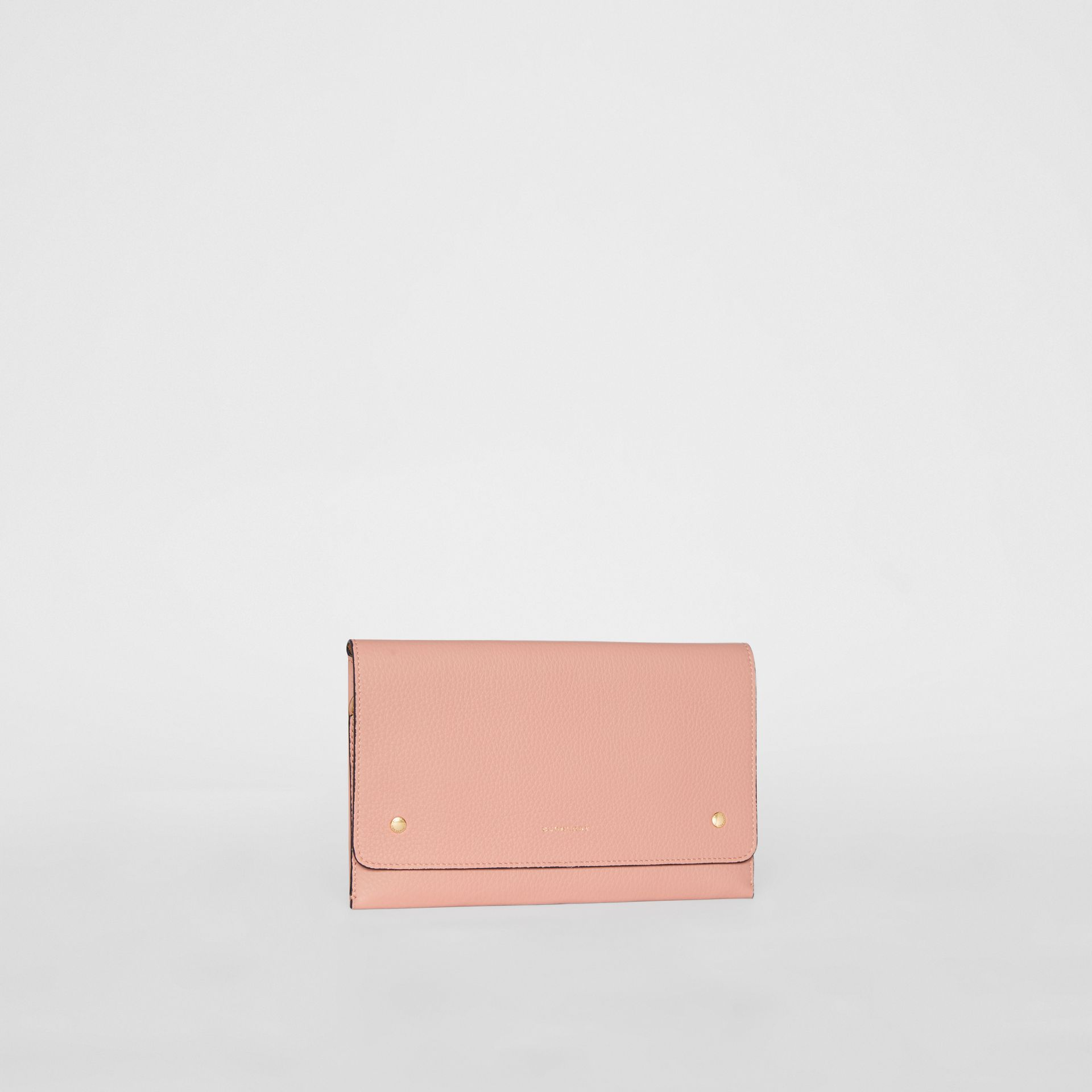 Clutch wristlet en cuir bicolore (Rose Platiné) - Femme | Burberry - photo de la galerie 5