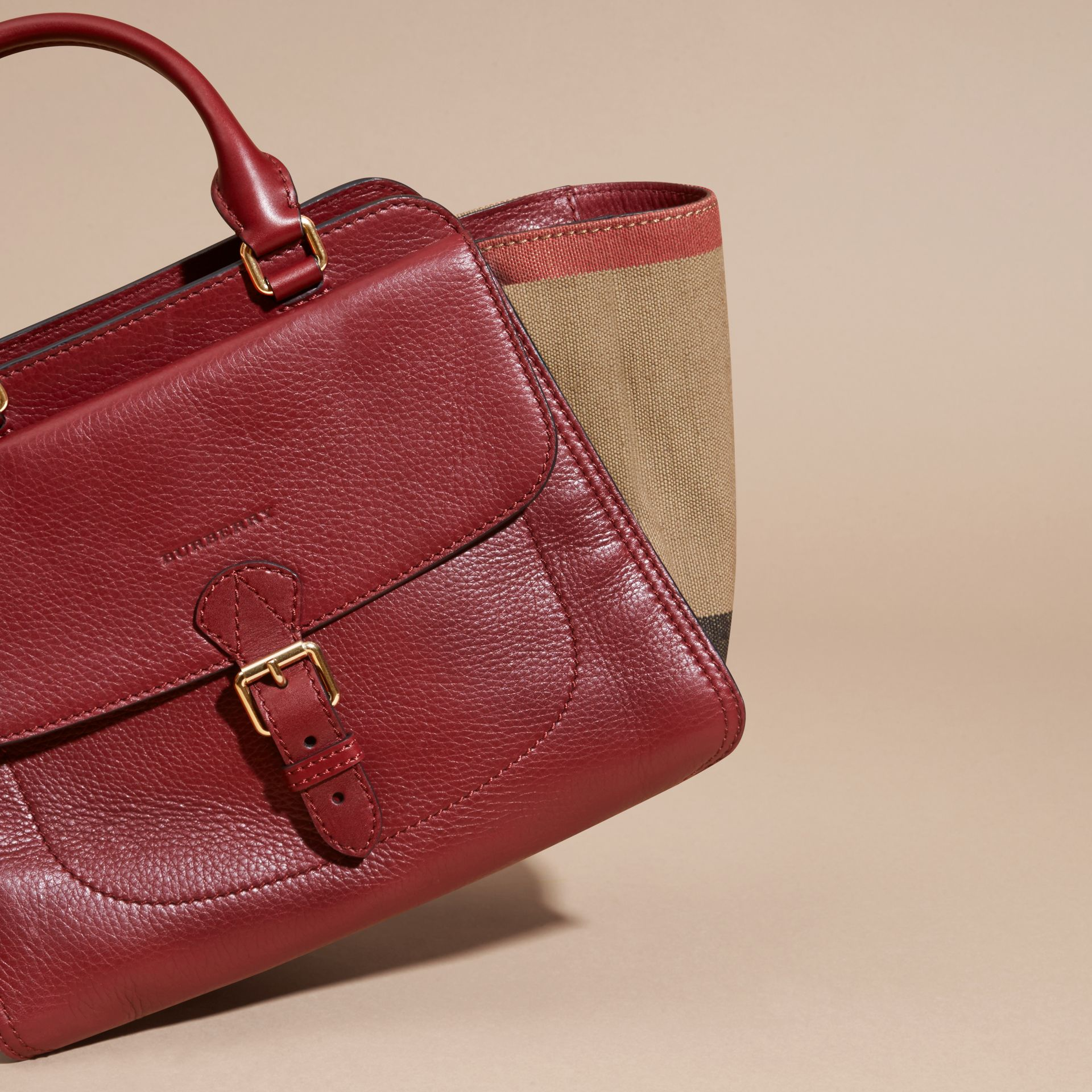 Burgundy red Medium Canvas Check and Leather Tote Bag Burgundy Red - gallery image 7