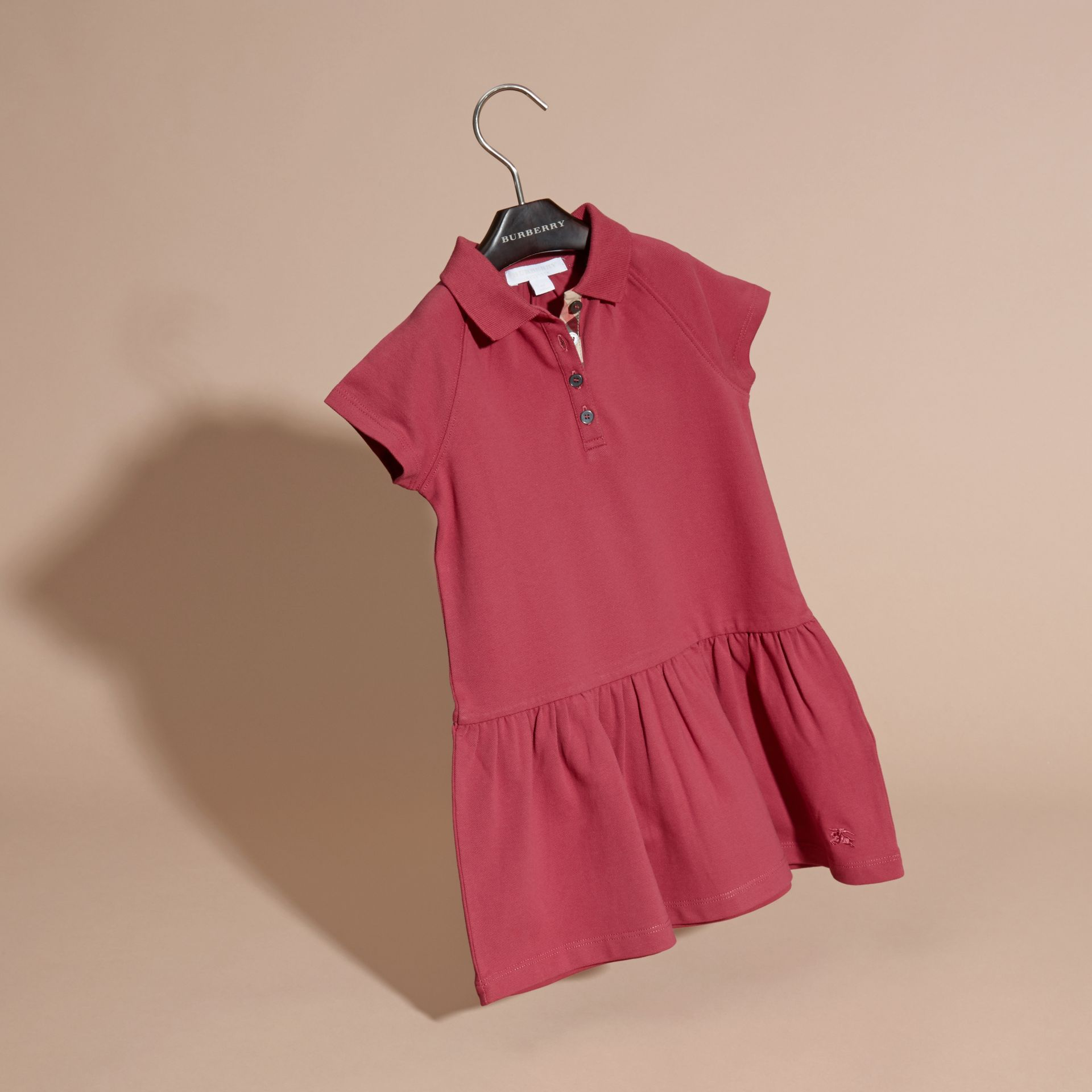 Peony rose Check Placket Cotton Blend T-Shirt Dress Peony Rose - gallery image 3