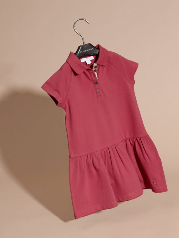 Peony rose Check Placket Cotton Blend T-Shirt Dress Peony Rose - cell image 2