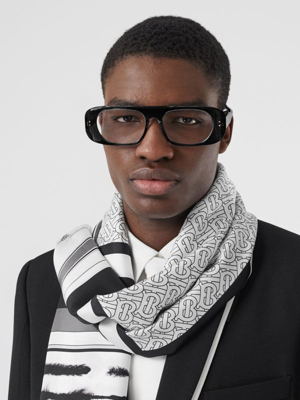 Montage Print Silk Scarf in Monochrome | Burberry - cell image 3