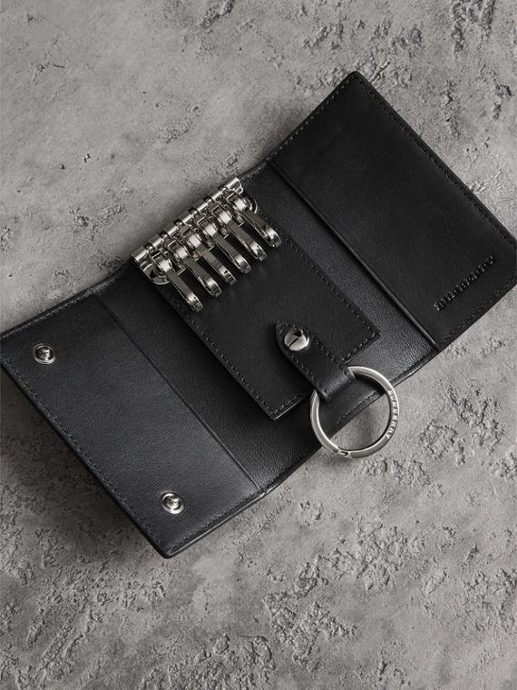 Leather Trim London Check Key Case in Navy/black - Men | Burberry - cell image 2