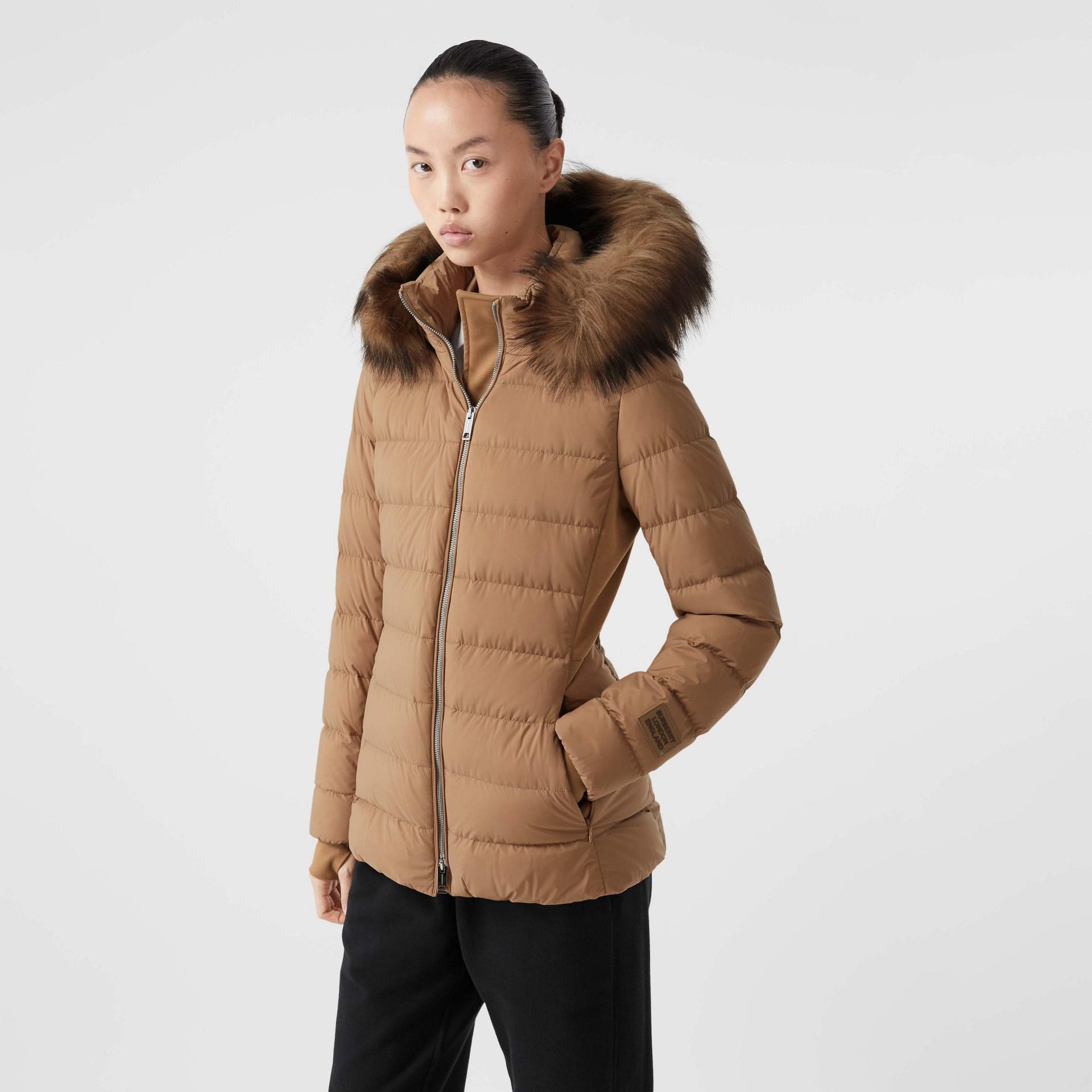 Faux Fur Trim Detachable Hood Puffer Jacket in Soft Camel - Women | Burberry United Kingdom - gallery image 5