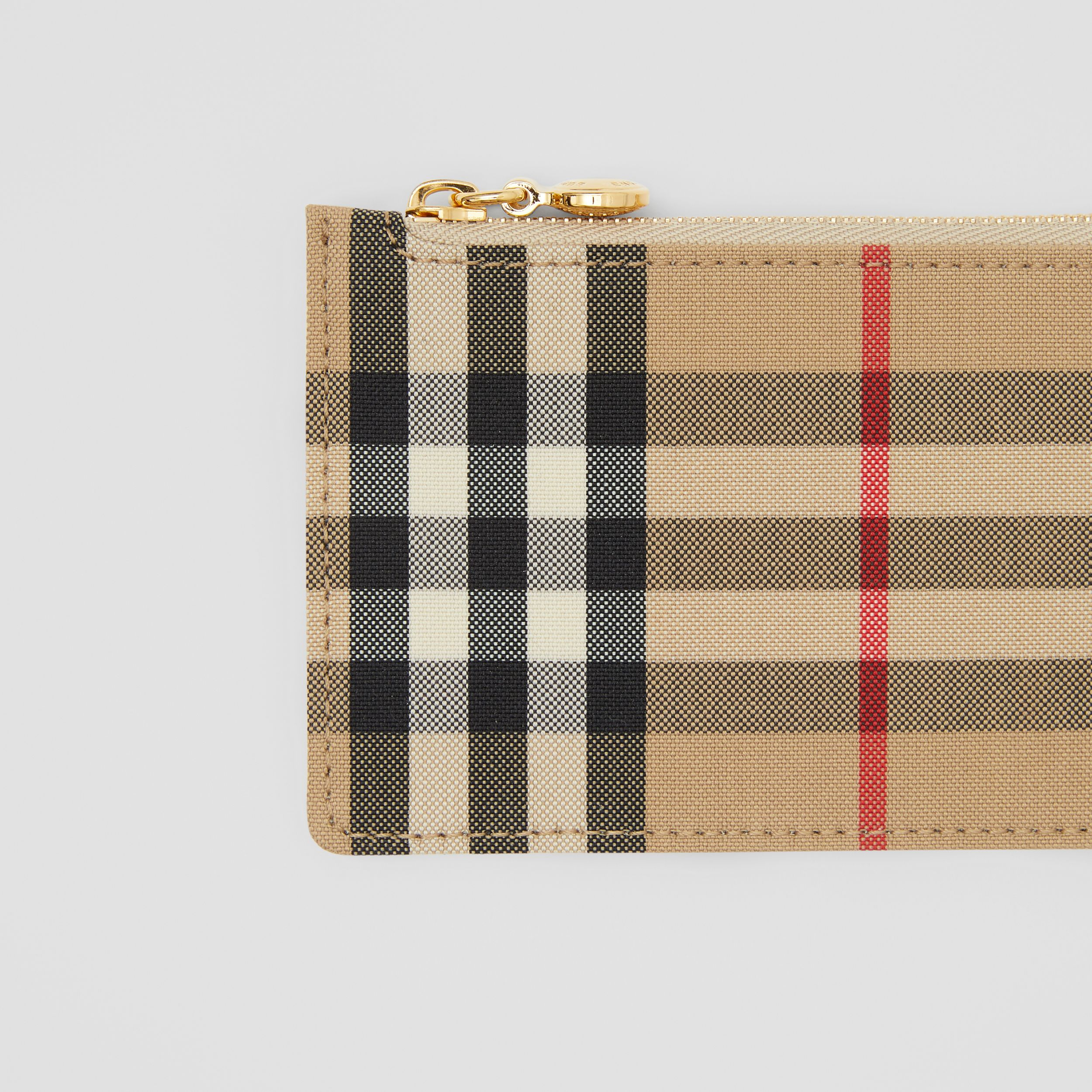Vintage Check and Leather Zip Card Case in Light Beige - Women | Burberry - 2