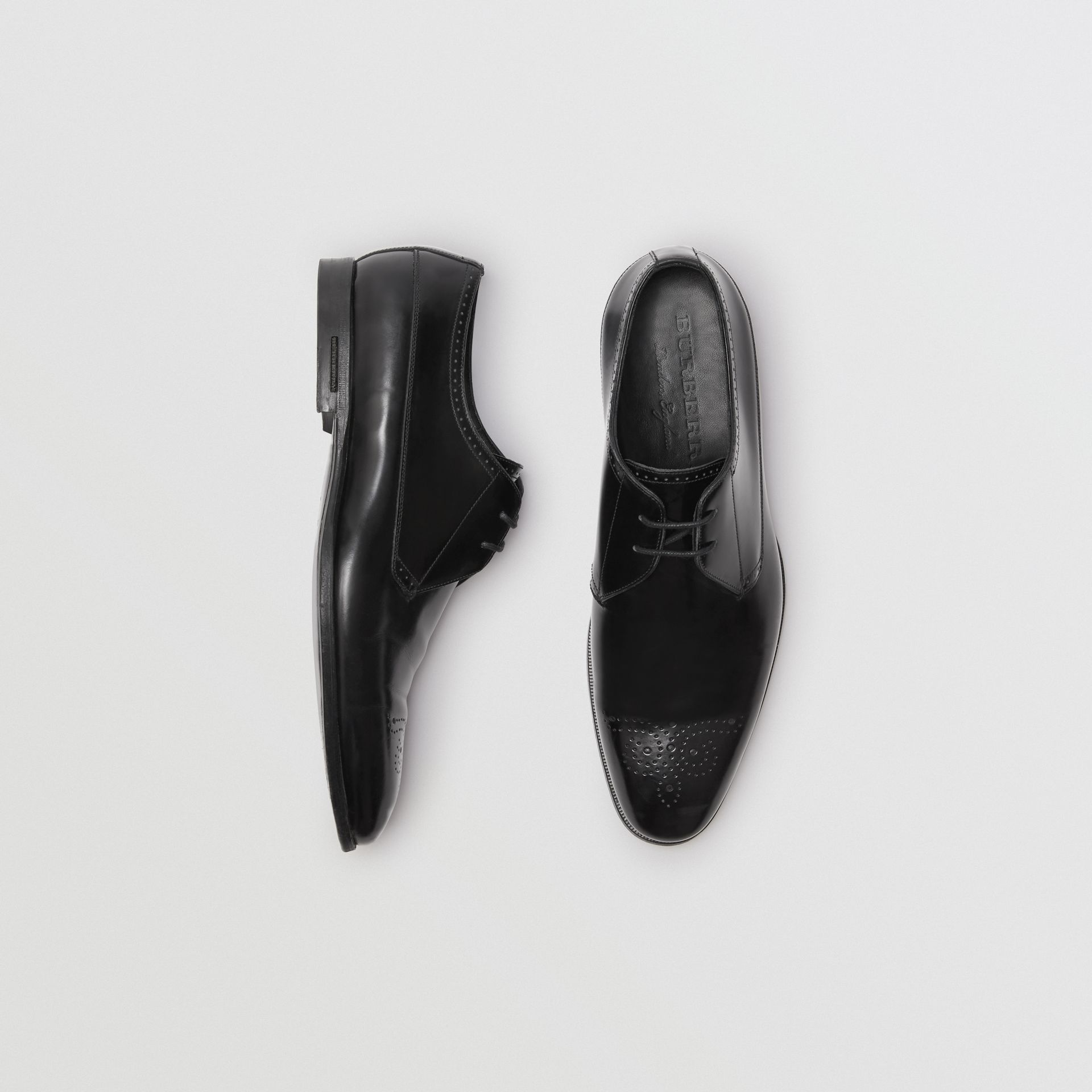 Perforated Detail Leather Derby Shoes in Black - Men | Burberry - gallery image 0