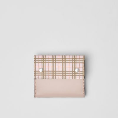 Small Scale Check And Leather Folding Wallet by Burberry