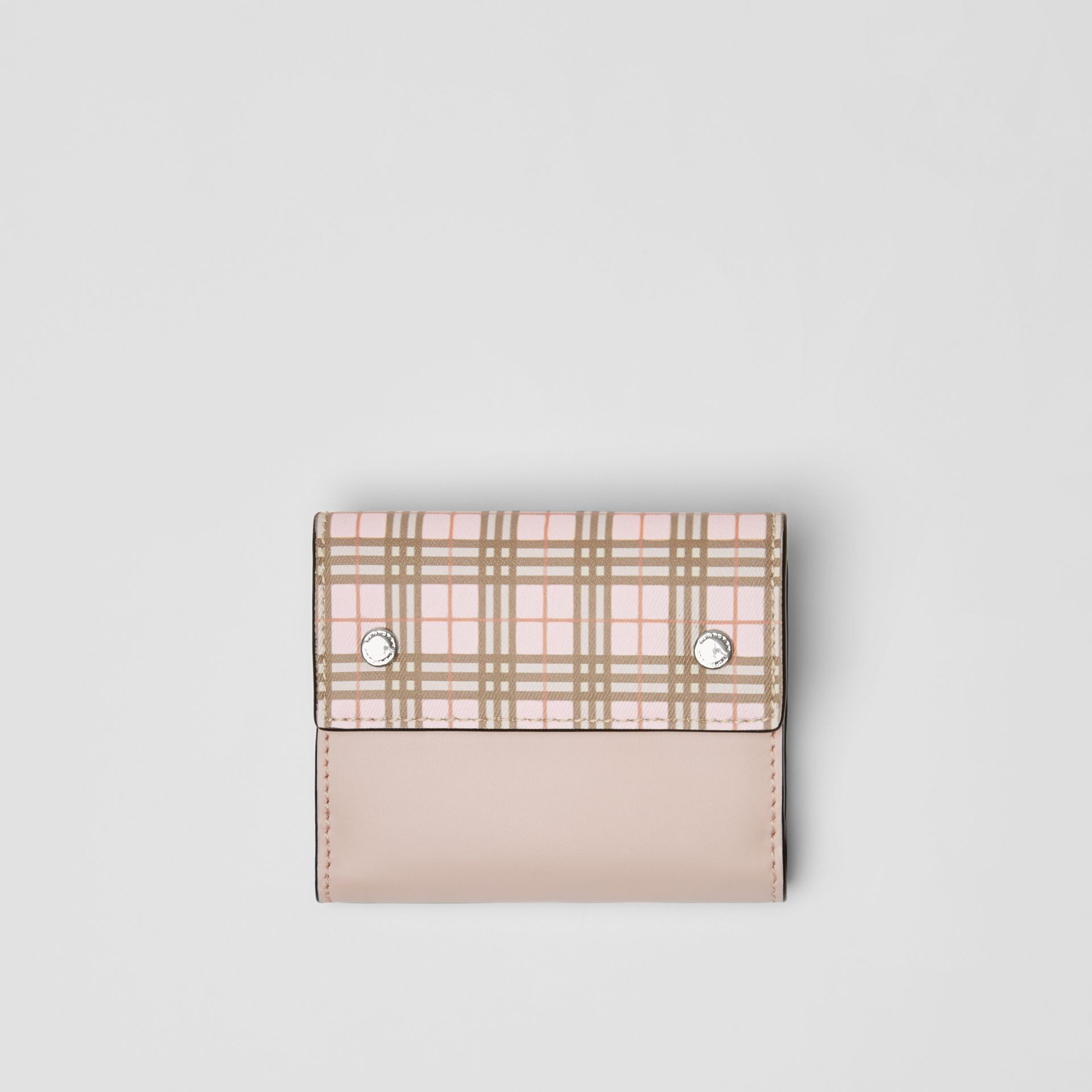 Small Scale Check and Leather Folding Wallet in Ice Pink - Women | Burberry Australia - gallery image 0