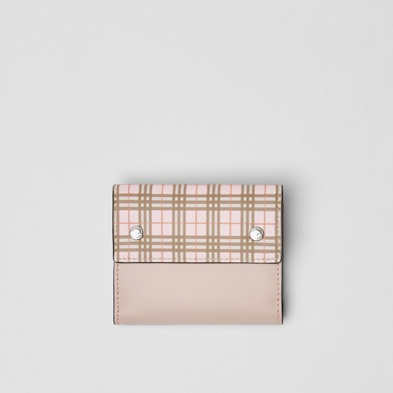 Burberry - Portefeuille à rabat en cuir à micro-motif check - 1