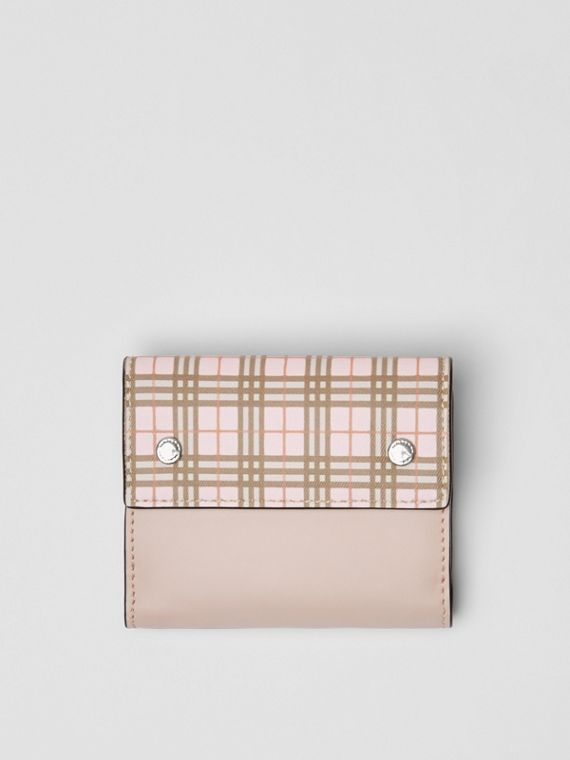 Small Scale Check and Leather Folding Wallet in Ice Pink
