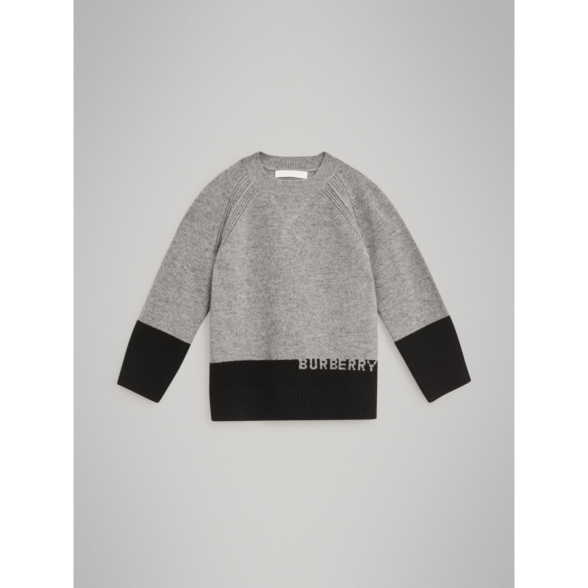 Logo Intarsia Cashmere Sweater in Grey Melange | Burberry Singapore - gallery image 0