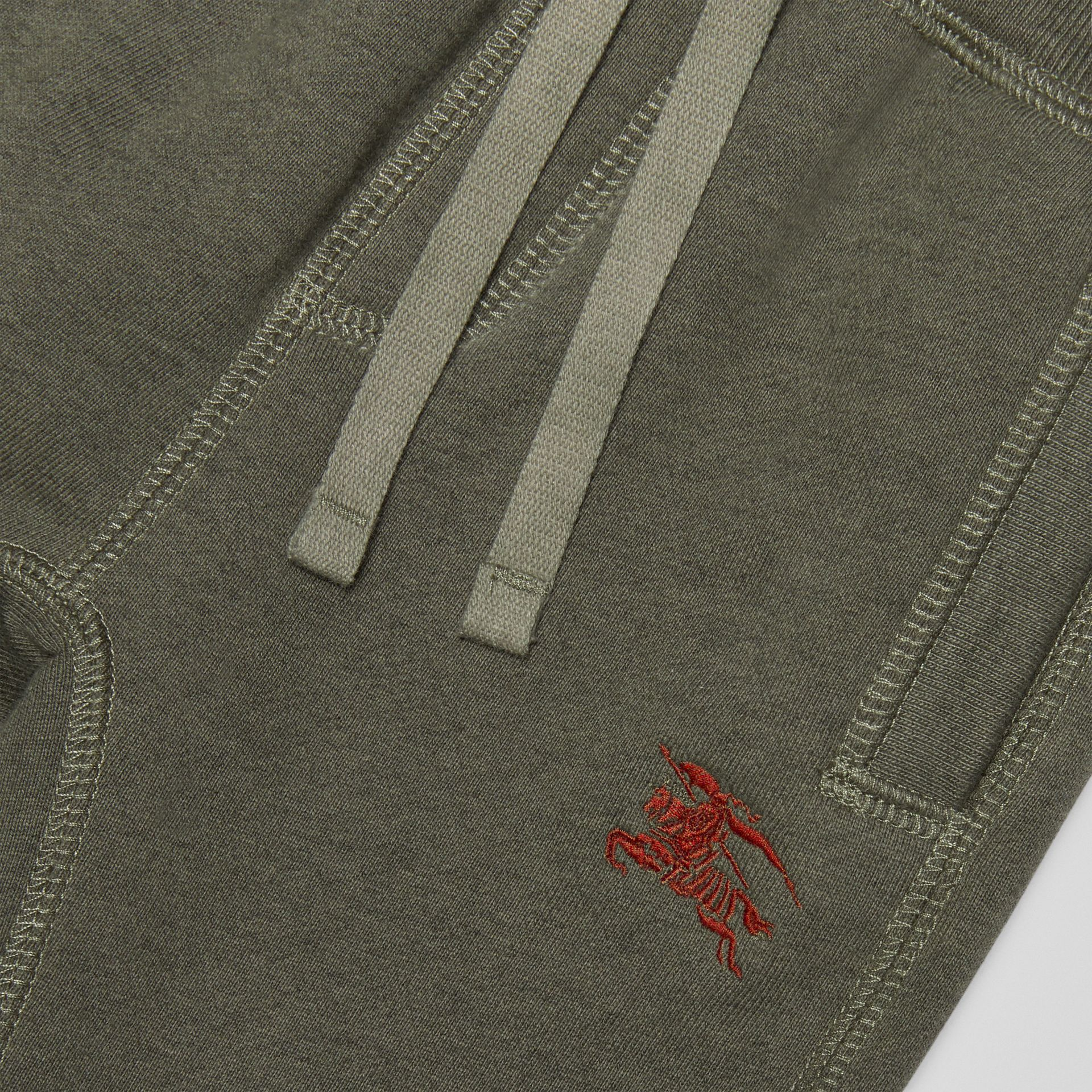 Embroidered Logo Cotton Trackpants in Olive Melange - Children | Burberry - gallery image 1