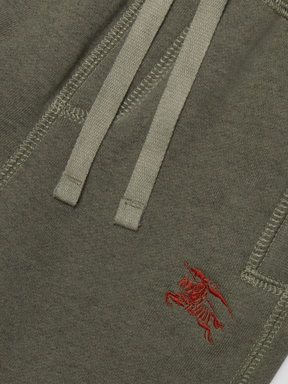 Embroidered Logo Cotton Trackpants in Olive Melange - Children | Burberry - cell image 1