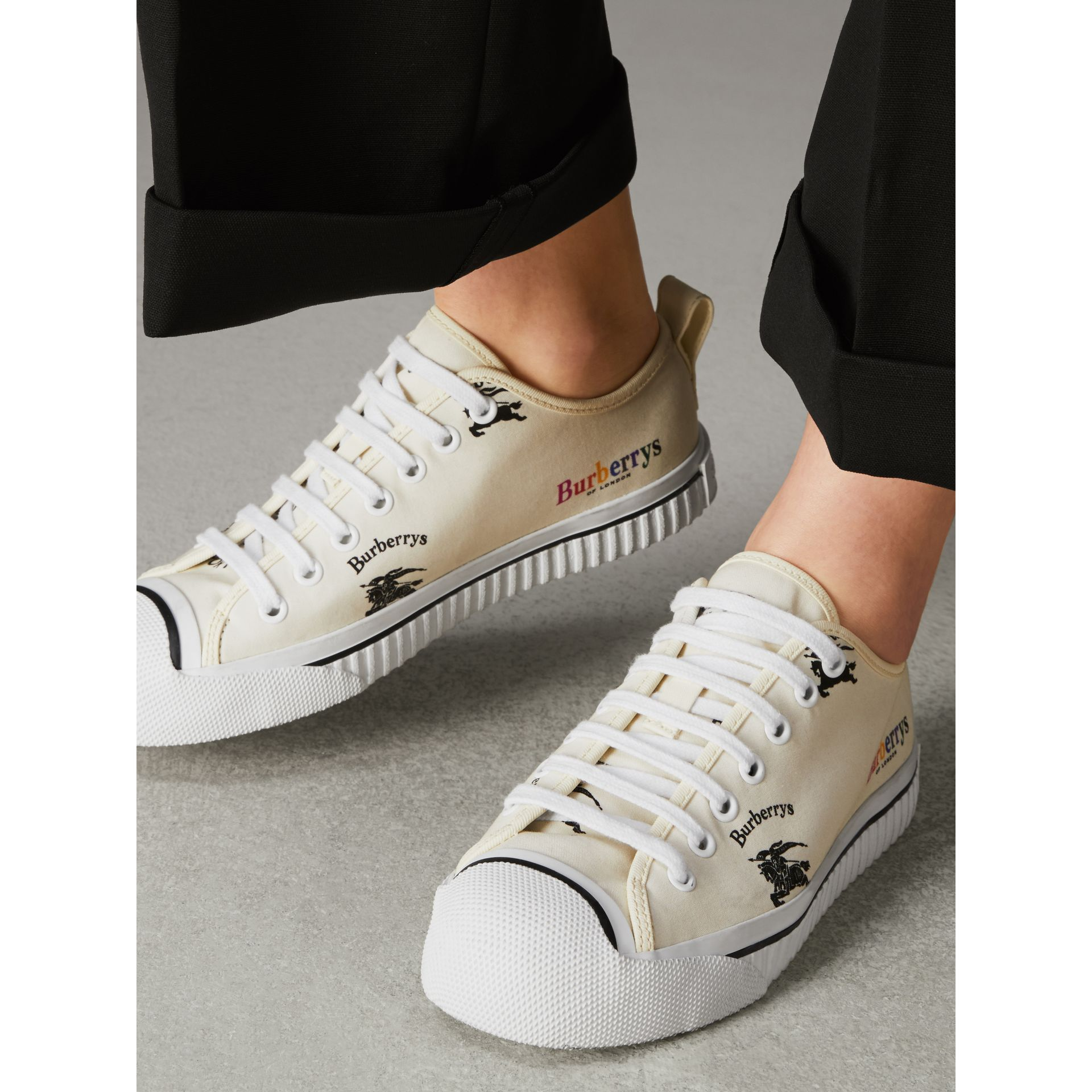 Archive Logo Cotton Sneakers in Off White - Women | Burberry - gallery image 2