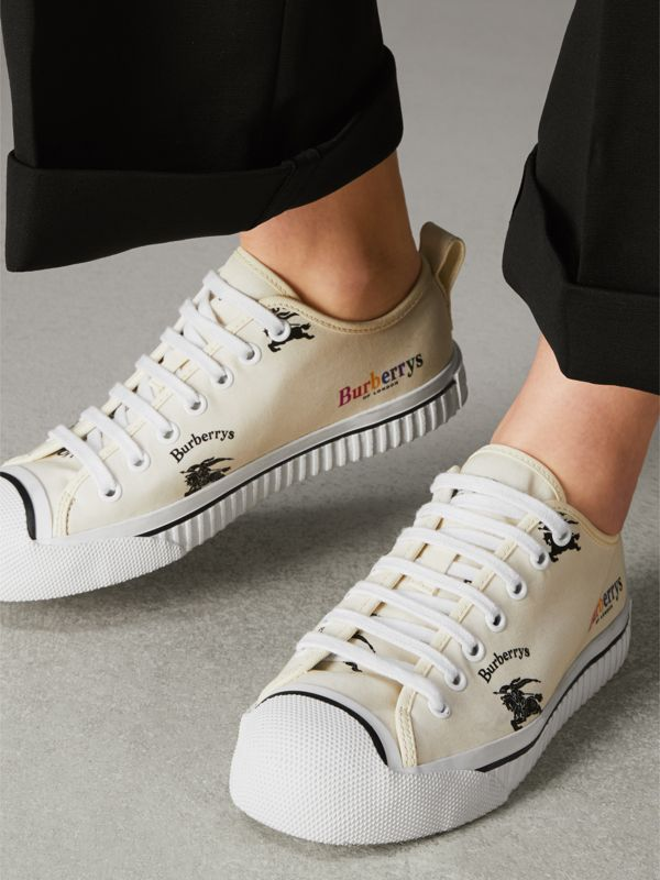 Archive Logo Cotton Sneakers in Off White - Women | Burberry Canada - cell image 2