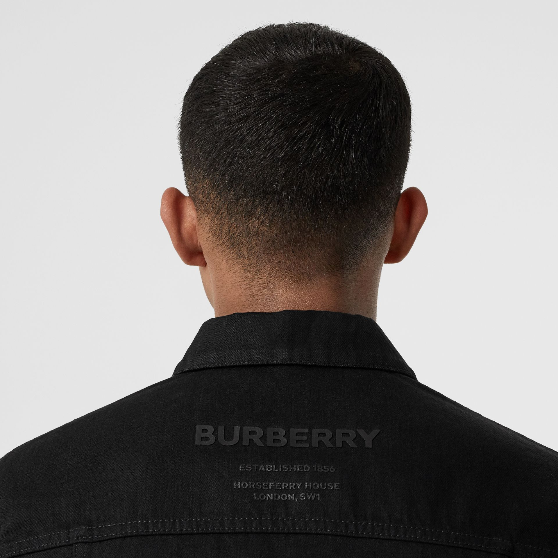 Logo Print Japanese Denim Jacket in Black - Men | Burberry - gallery image 4
