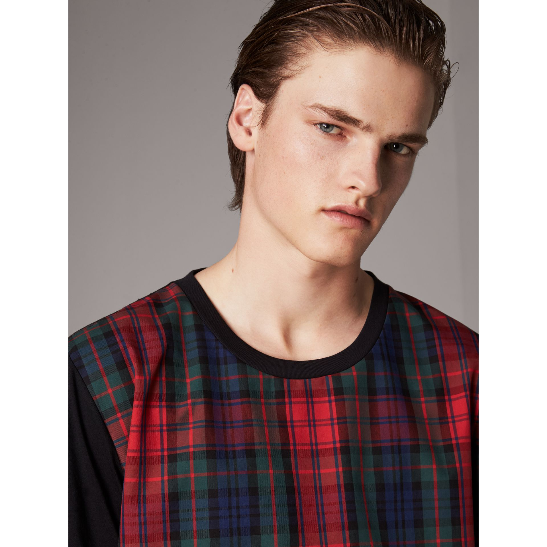 Tartan Panel Cotton T-shirt in Black - Men | Burberry - gallery image 1