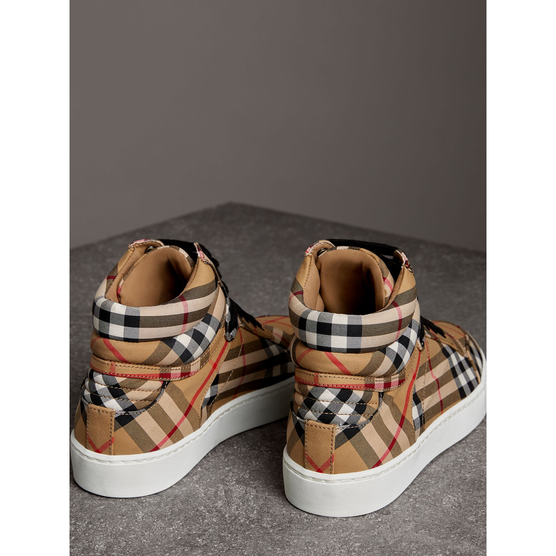 Vintage Check Cotton High-top Sneakers in Antique Yellow - Women | Burberry United States - gallery image 3
