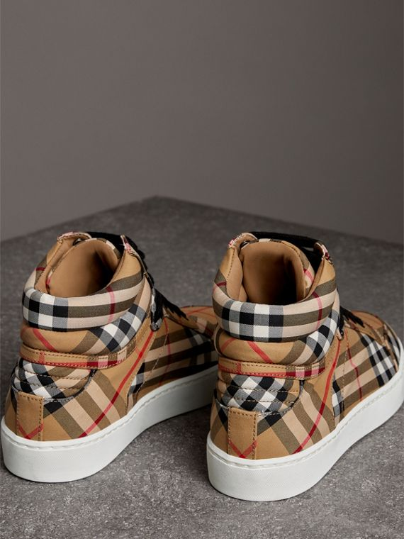 Vintage Check Cotton High-top Sneakers in Antique Yellow - Women | Burberry - cell image 3