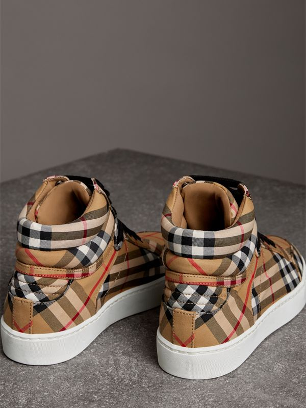 Vintage Check Cotton High-top Sneakers in Antique Yellow - Women | Burberry United States - cell image 3