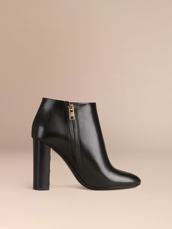 Black Check Detail Leather Ankle Boots - cell image 2