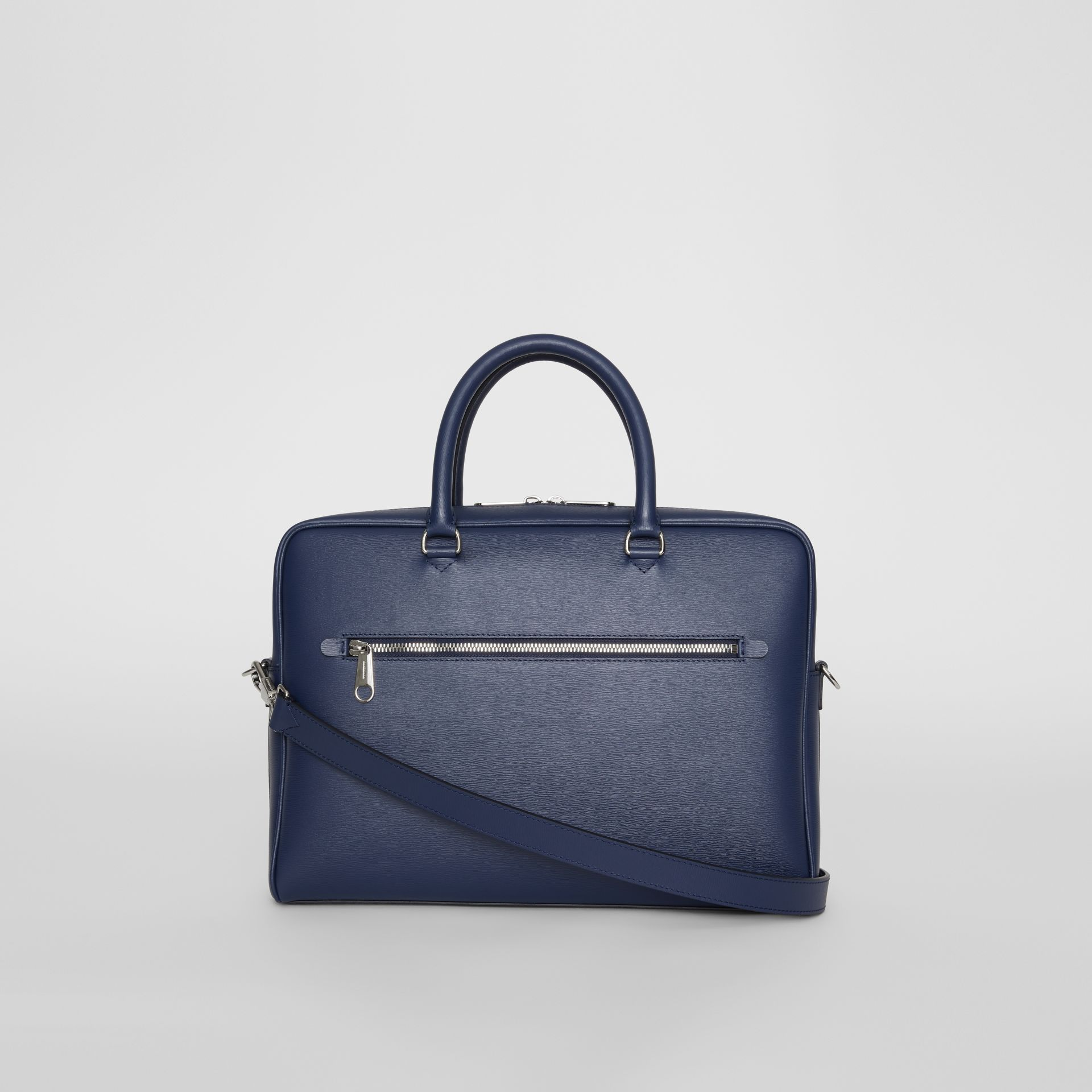 London Leather Briefcase in Navy - Men | Burberry - gallery image 7