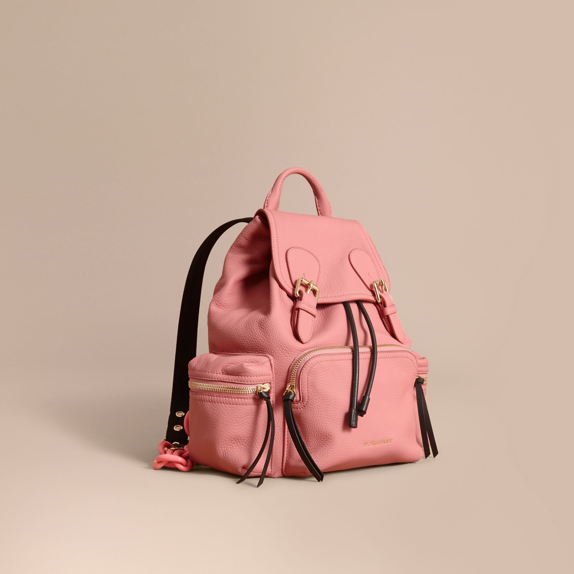 The Medium Rucksack in Deerskin with Resin Chain in Blossom Pink - gallery image 1