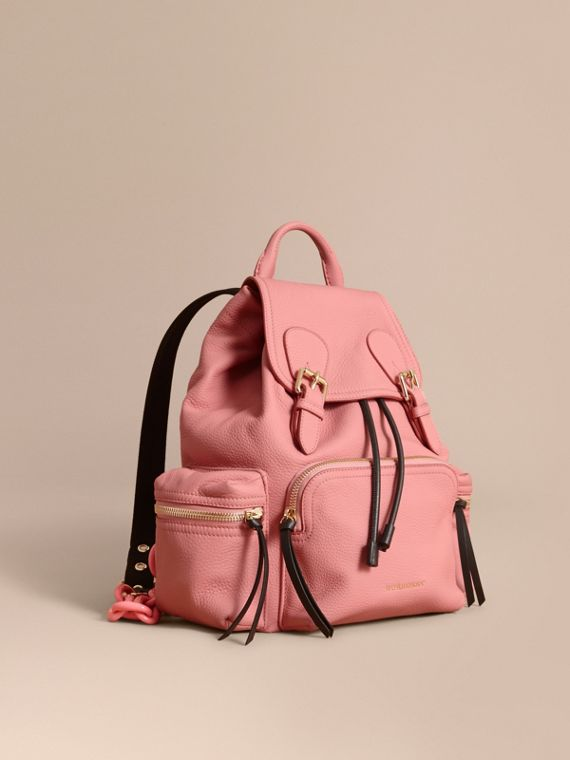 The Medium Rucksack in Deerskin with Resin Chain in Blossom Pink