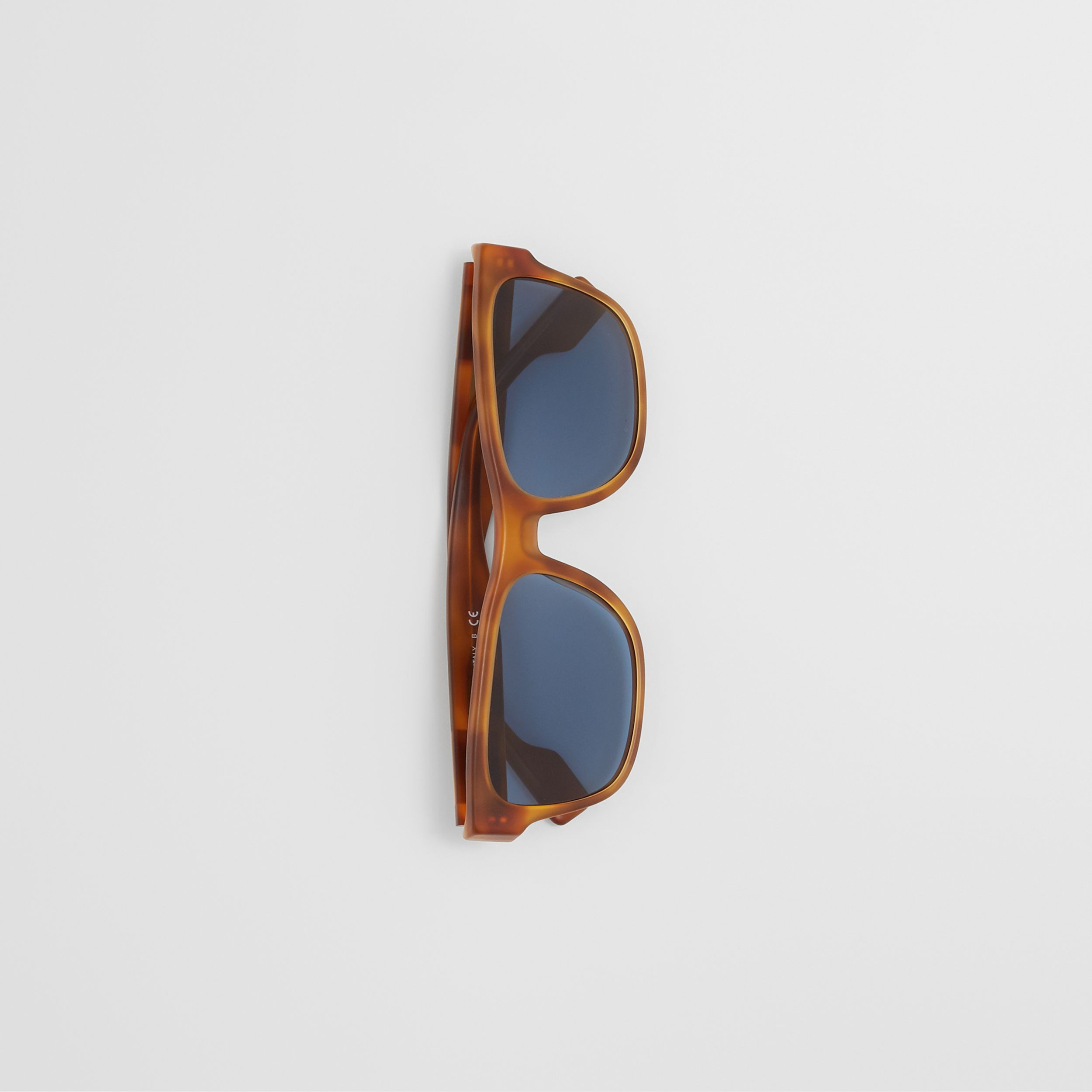 Logo Appliqué Square Frame Sunglasses in Tortoise Amber - Men | Burberry United Kingdom - 3