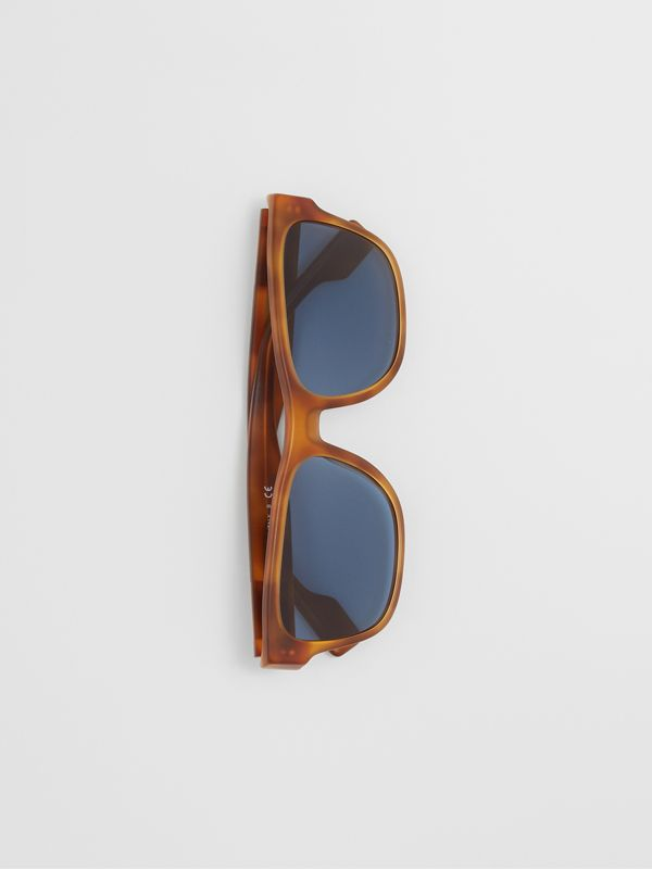 Logo Appliqué Square Frame Sunglasses in Tortoise Amber - Men | Burberry - cell image 2