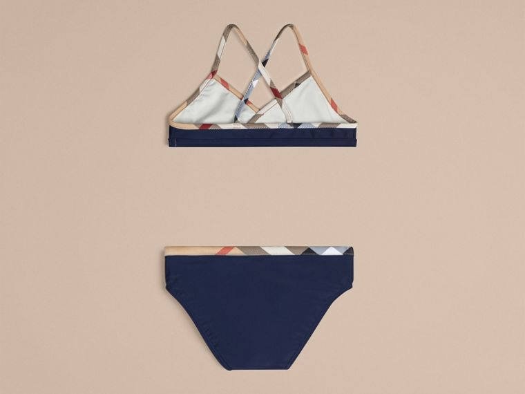 Check Trim Bikini in Navy - cell image 1