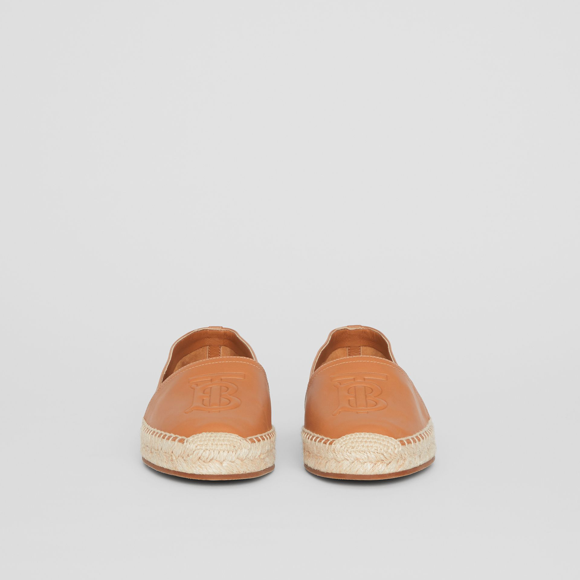 Monogram Motif Lambskin Espadrilles in Camel - Women | Burberry United Kingdom - gallery image 3