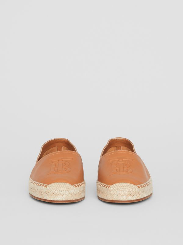 Monogram Motif Lambskin Espadrilles in Camel - Women | Burberry United Kingdom - cell image 3