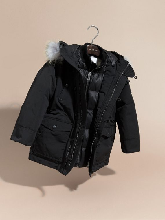 Fur-trimmed Down-filled Hooded Puffer Coat in Black - Boy | Burberry - cell image 2