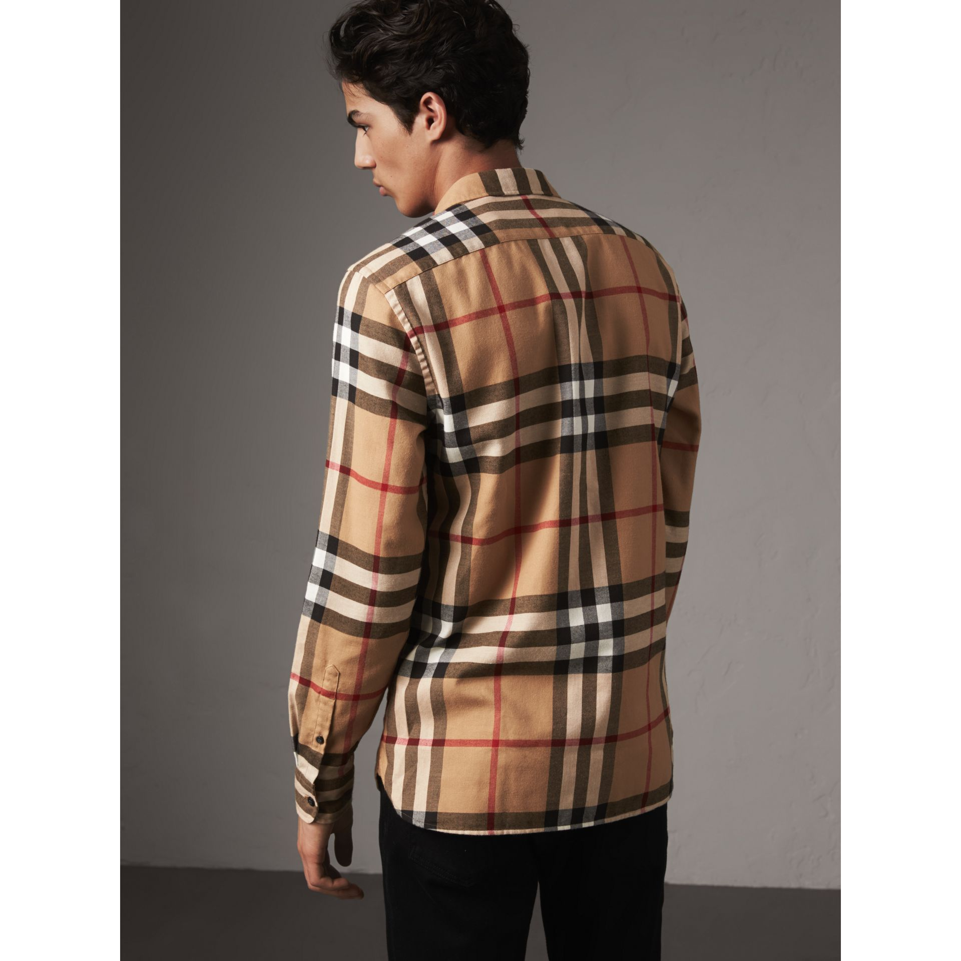 Check Cotton Flannel Shirt in Camel - Men | Burberry Canada - gallery image 3