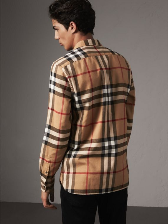 Check Cotton Flannel Shirt in Camel - Men | Burberry Canada - cell image 2