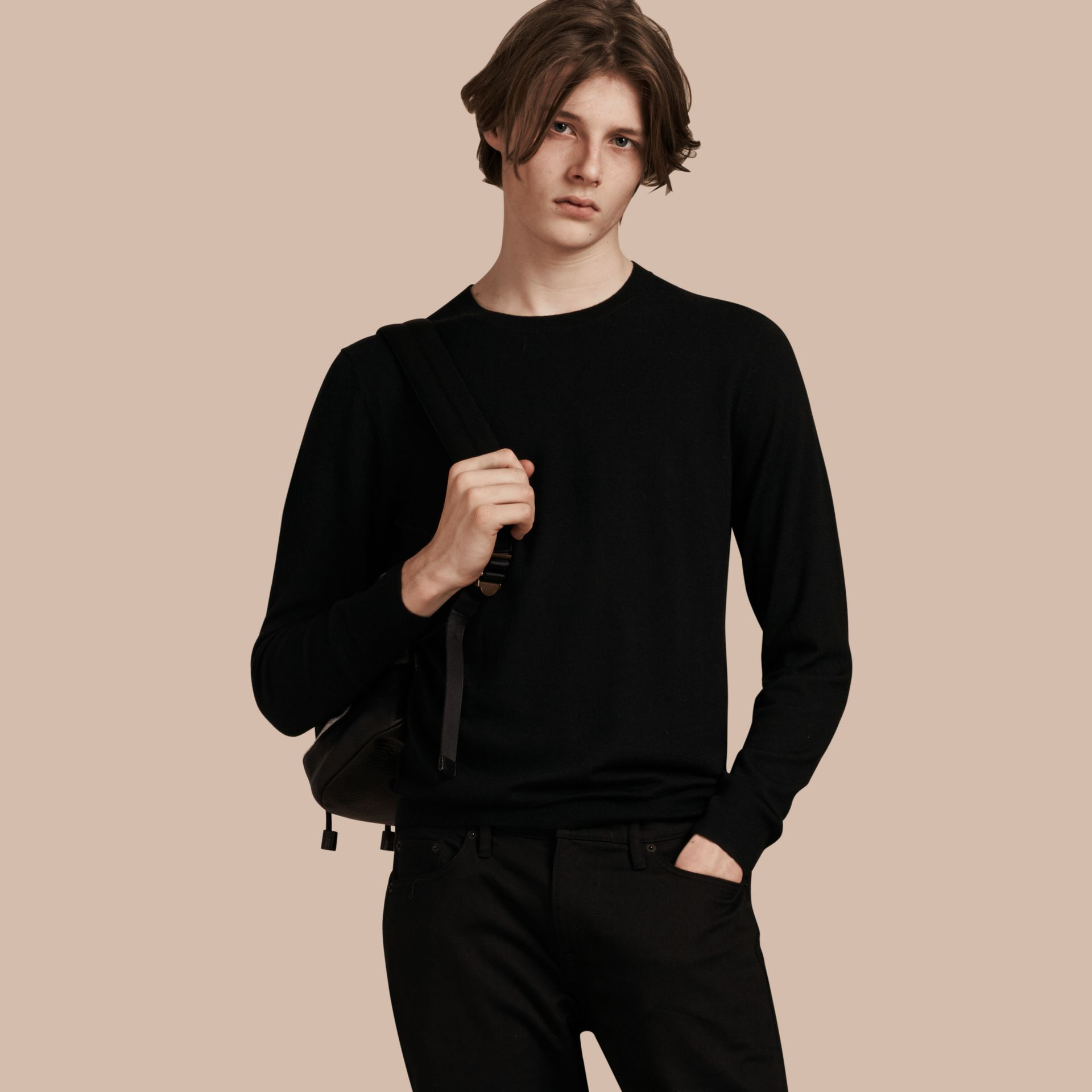 Lightweight Crew Neck Cashmere Sweater with Check Trim Black - gallery image 1