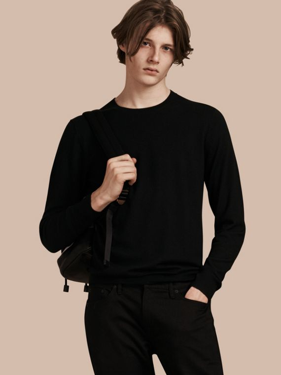 Lightweight Crew Neck Cashmere Sweater with Check Trim in Black - Men | Burberry
