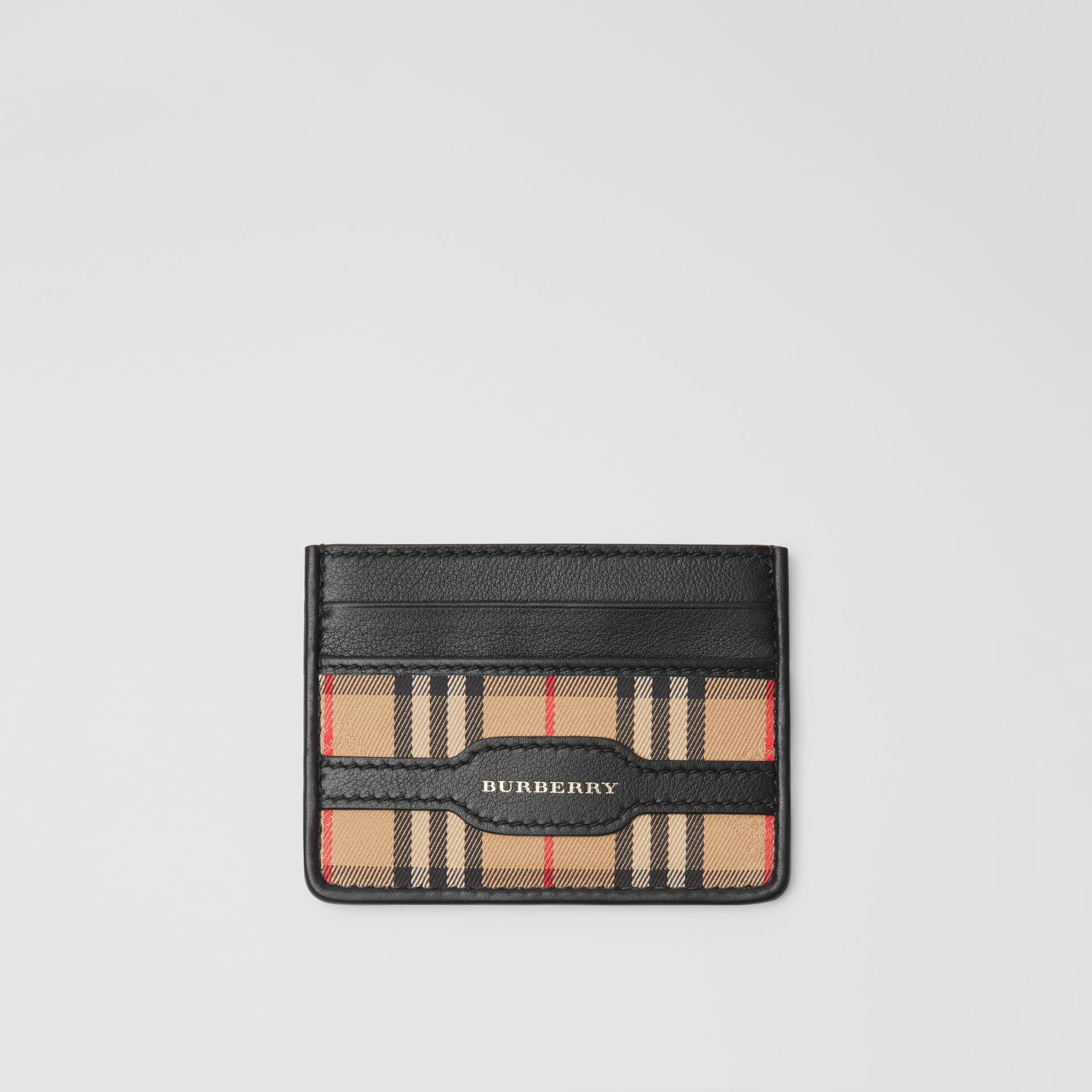 1983 Check and Leather Card Case in Black - Men | Burberry - gallery image 0
