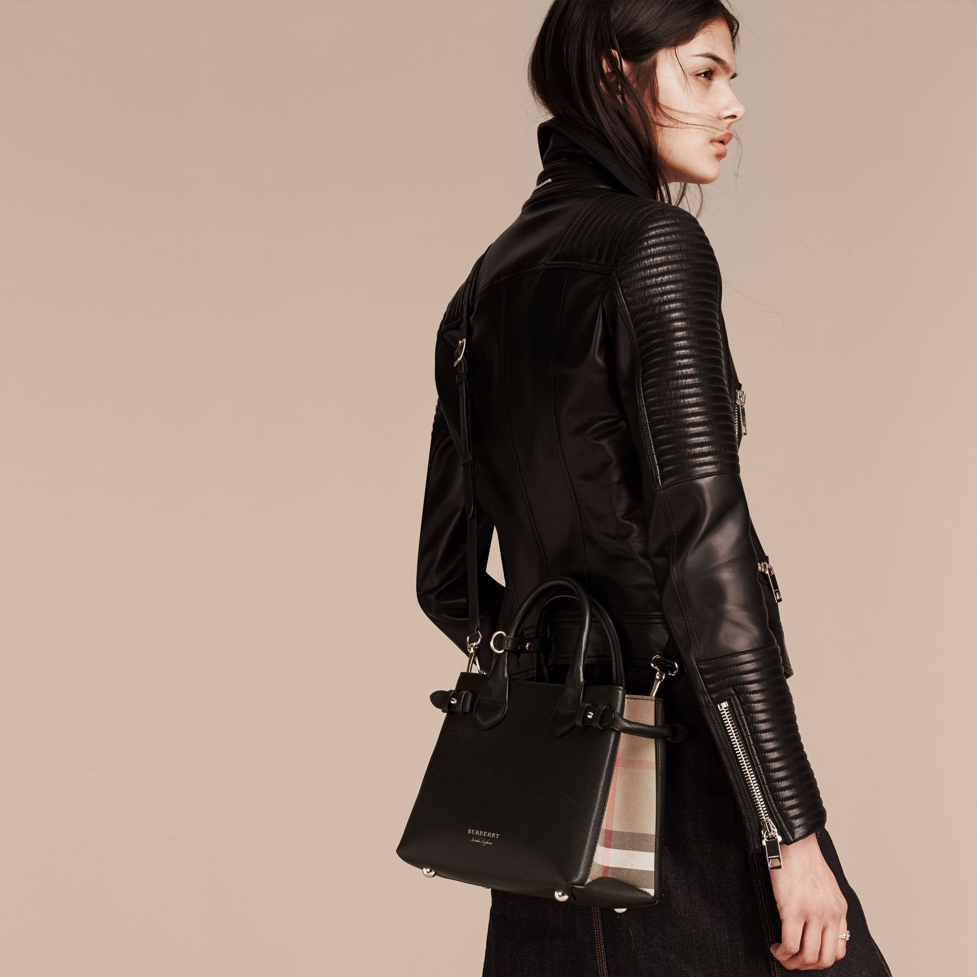 The Small Banner in Leather and House Check in Black - Women | Burberry - gallery image 3